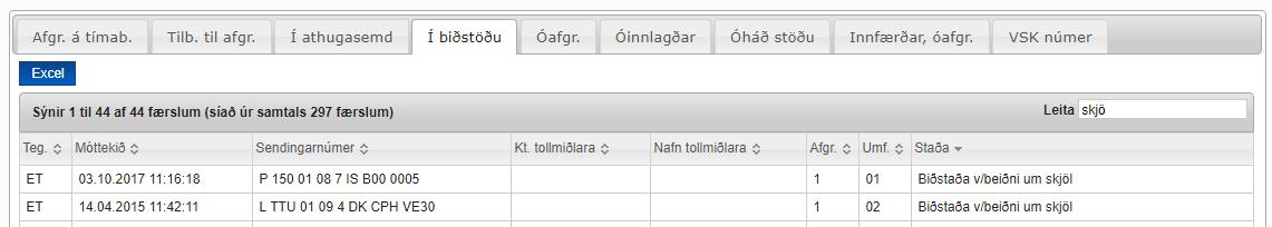Skjáskot af síðu með upplýsingum um stöðu sendingar í flipum - Afgreiddar á tímabili, Tilbúnar til afgreiðslu o.fl.