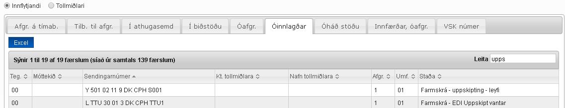Skjáskot af síðu með upplýsingum um óinnlagðar sendingar viðskiptamanns