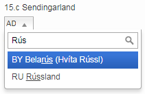 """Leitað var að """"rús"""""""